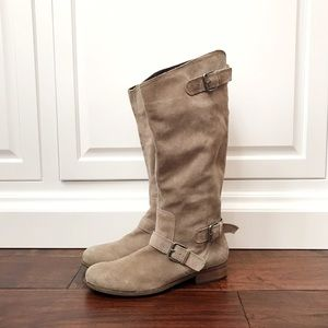 DV Dolce Vita Tan/Taupe Buckled Suede Riding Boots